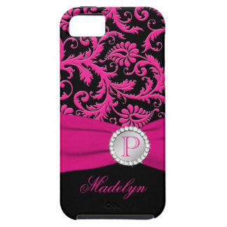 Monogram Pink Black Silver Damask iPhone 5 Case