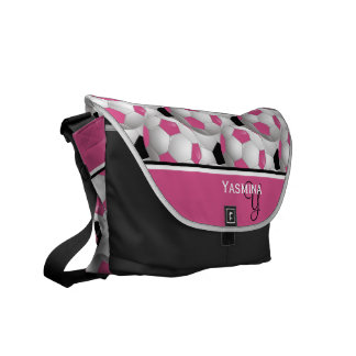Monogram Pink Black Soccer Ball Pattern Courier Bags