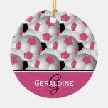 Monogram Pink Black Soccer Ball Pattern Round Ceramic Decoration