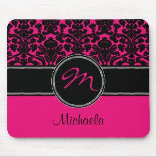 Monogram Pink Black White Damask Mousepad