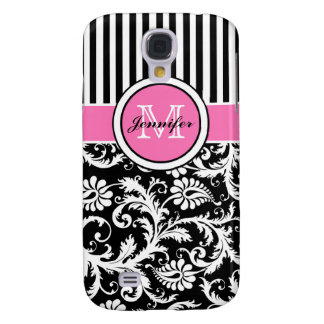 Monogram Pink, Black, White Striped Damask S4 Case