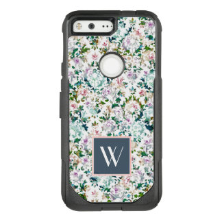 Monogram | Pink & Blue Damask OtterBox Commuter Google Pixel Case