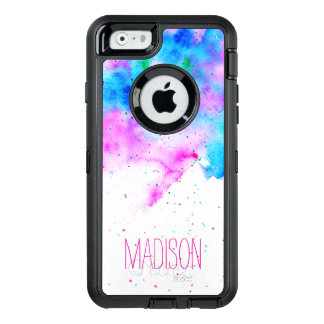 monogram pink blue watercolor brushstrokes custom OtterBox defender iPhone case