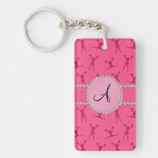 Monogram pink cheerleading pink circle Double-Sided rectangular acrylic key ring
