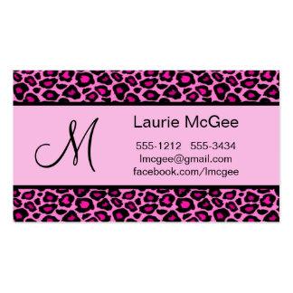Monogram Pink Cheetah / Leopard (#BUS 023) Business Card Template