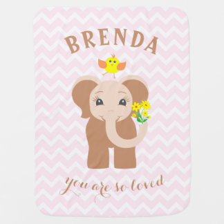 Monogram Pink Chevron Baby Elephant Baby Blanket