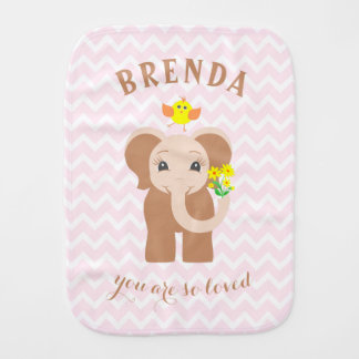 Monogram Pink Chevron Baby Elephant Burp Cloth
