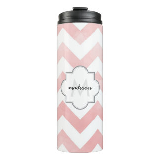 Monogram Pink Chevron Thermal Tumbler