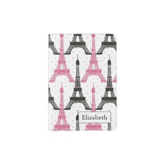 Monogram Pink Chic Eiffel Tower Pattern Passport Holder