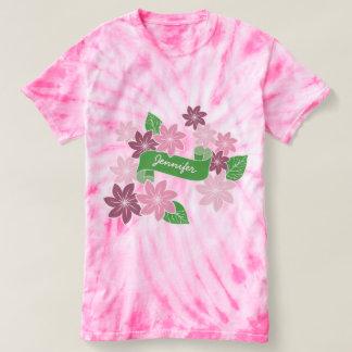 Monogram Pink Clematis Flowers Green Banner Ribbon T-Shirt