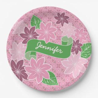 Monogram Pink Clematis Green Banner Japan Kimono 9 Inch Paper Plate