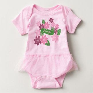 Monogram Pink Clematis Green Banner Japan Kimono Baby Bodysuit