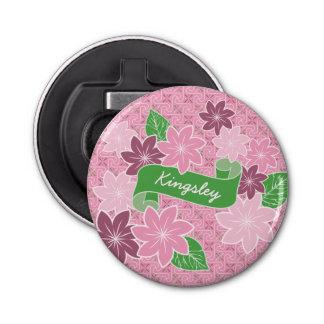 Monogram Pink Clematis Green Banner Japan Kimono Bottle Opener
