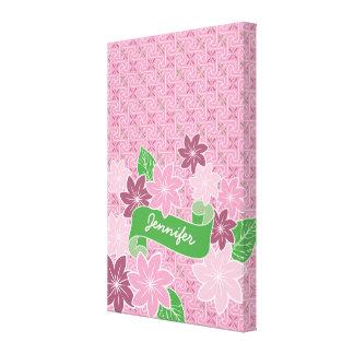 Monogram Pink Clematis Green Banner Japan Kimono Canvas Print