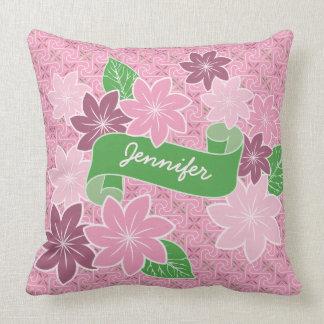 Monogram Pink Clematis Green Banner Japan Kimono Cushion