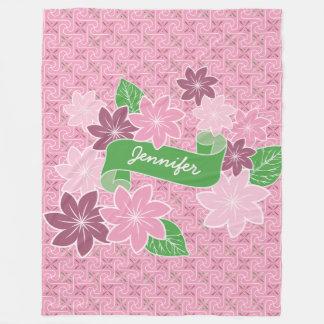 Monogram Pink Clematis Green Banner Japan Kimono Fleece Blanket