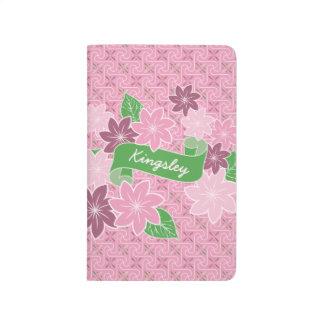 Monogram Pink Clematis Green Banner Japan Kimono Journal