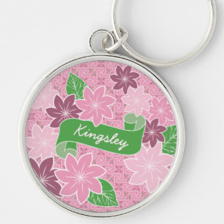 Monogram Pink Clematis Green Banner Japan Kimono Key Ring