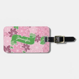 Monogram Pink Clematis Green Banner Japan Kimono Luggage Tag