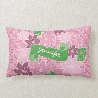 Monogram Pink Clematis Green Banner Japan Kimono Lumbar Cushion