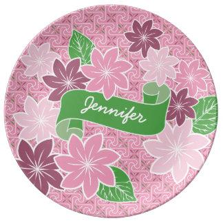 Monogram Pink Clematis Green Banner Japan Kimono Porcelain Plates