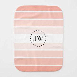 Monogram Pink Coral Pastel Stripes Burp Cloth