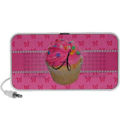 Monogram pink cupcake pink butterflies laptop speakers