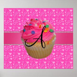 Monogram pink cupcake pink hearts poster