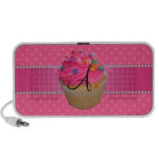 Monogram pink cupcake pink polka dots speaker system
