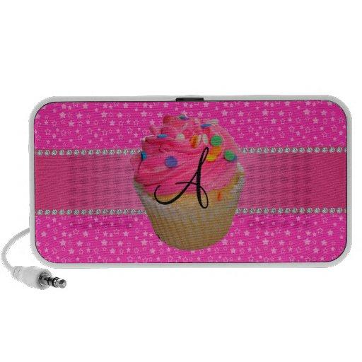 Monogram pink cupcake pink stars mp3 speakers