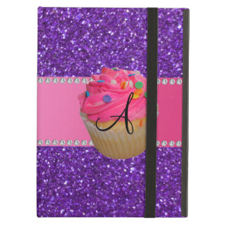 Monogram pink cupcake purple glitter cover for iPad air
