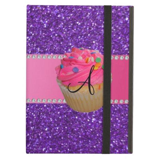 Monogram pink cupcake purple glitter iPad case