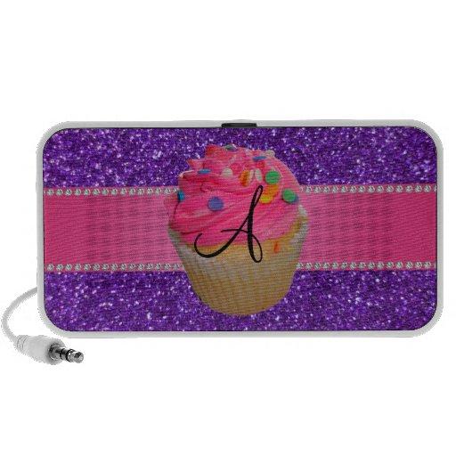 Monogram pink cupcake purple glitter travelling speakers