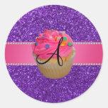 Monogram pink cupcake purple glitter round stickers