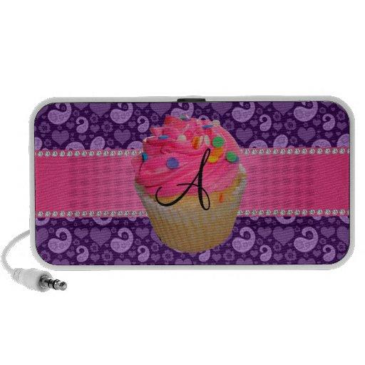 Monogram pink cupcake purple paisley travelling speaker