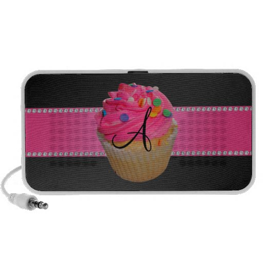 Monogram pink cupcake mp3 speakers