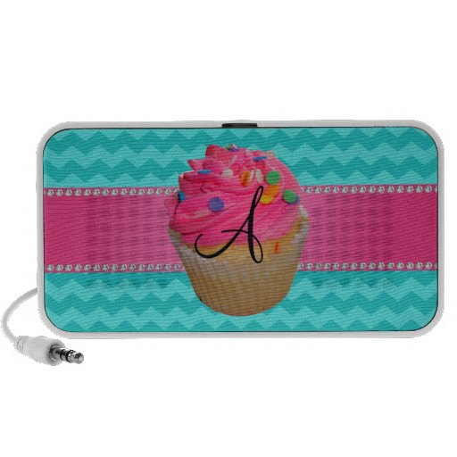Monogram pink cupcake turquoise chevrons travel speaker