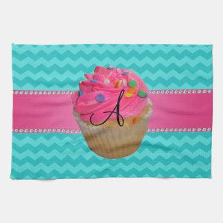 Monogram pink cupcake turquoise chevrons tea towel