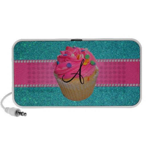 Monogram pink cupcake turquoise glitter speakers