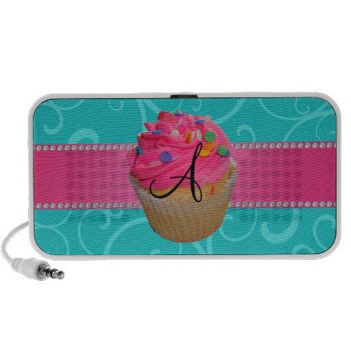 Monogram pink cupcake turquoise swirls iPhone speaker