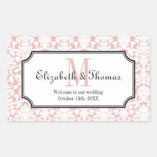 Monogram pink damask frame out of town gift bag sticker