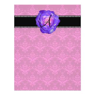 Monogram pink damask purple rose custom flyer