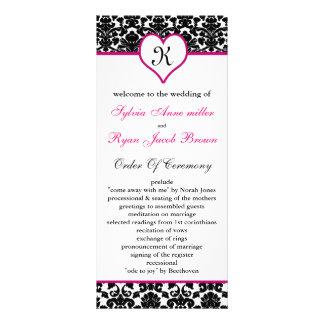 monogram pink damask Wedding program Rack Card