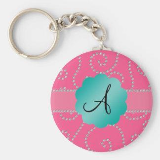 Monogram pink diamond swirls keychains