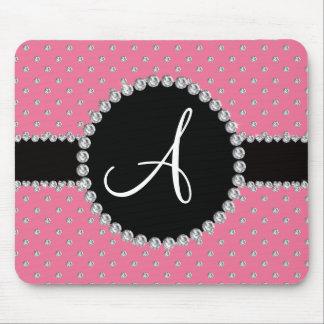 Monogram pink diamonds polka dots mousepad