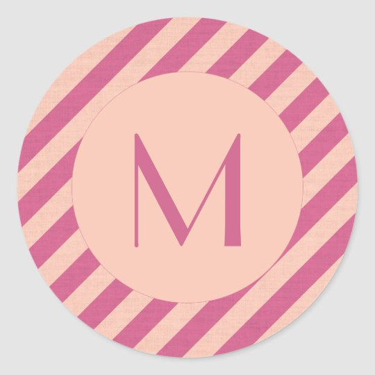 Monogram Pink Dusk and Fuchsia Stripes Classic Round Sticker