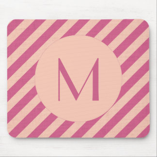 Monogram Pink Dusk and Fuchsia Stripes Mouse Mat