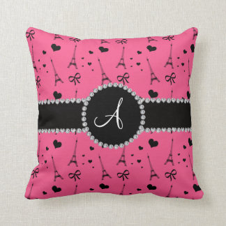 Monogram pink eiffel tower pattern cushion