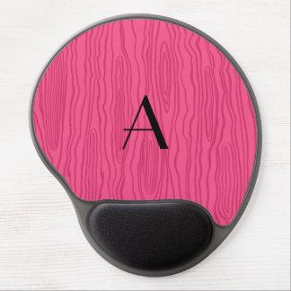 Monogram pink faux bois gel mouse pad