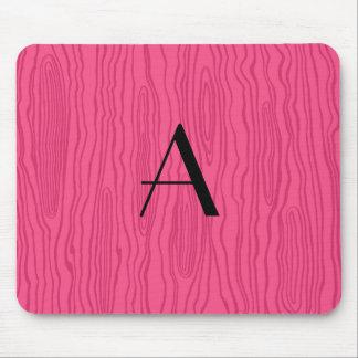 Monogram pink faux bois mouse pad